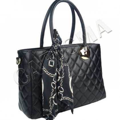 Черна дамска чанта с шал