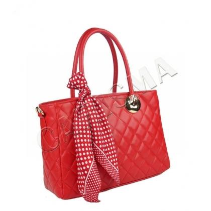 Дамска кожена чанта с шал, Червена