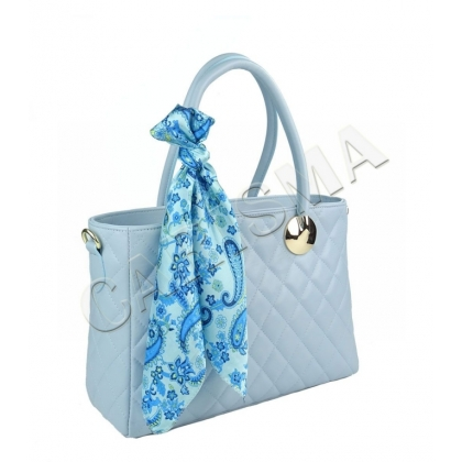 Дамска кожена чанта с шал, Светлосиня 4572-1