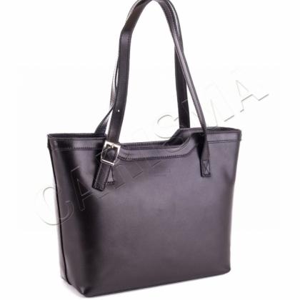 Класическа чанта от Естествена кожа Черна 1444-1