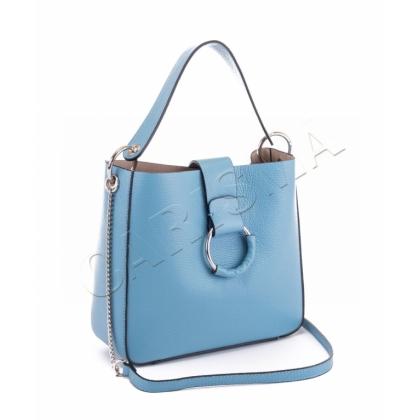 Чанта от естествена кожа светло синя