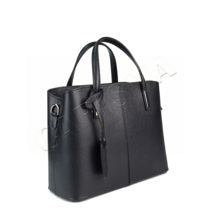 Чанта от естествена кожа черен цвят 1354-1