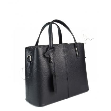 Чанта от естествена кожа, Тип куфарче, Черен цвят 1354-1