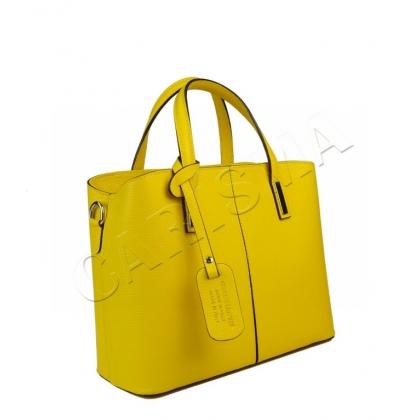Чанта от естествена кожа в жълт цвят