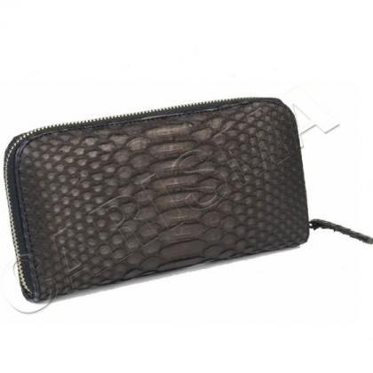 Черно дамско портмоне от змийска кожа