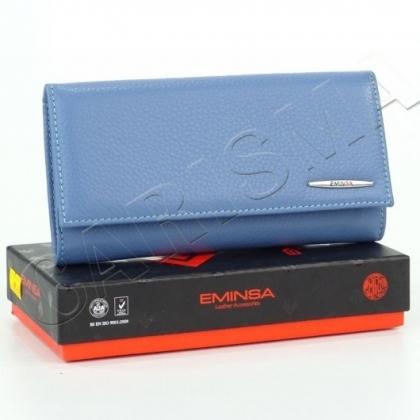 Синьо дамско портмоне от естествена кожа