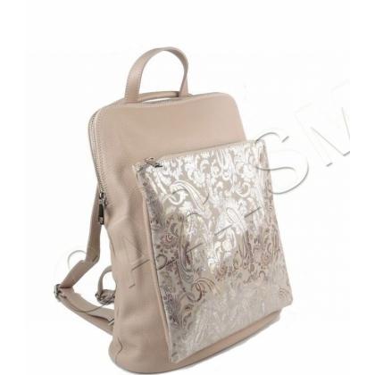 Чанта раница от естествена кожа Пудра 1147