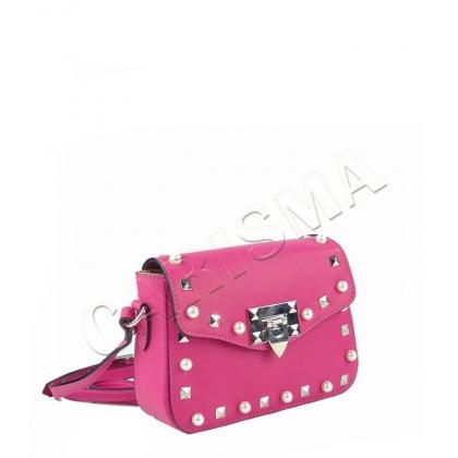 Дамска малка чанта естествена кожа с камъни и перли