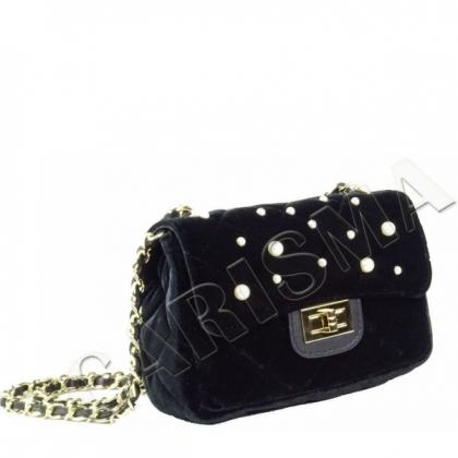 Малка чанта от плюш с декоративни перли