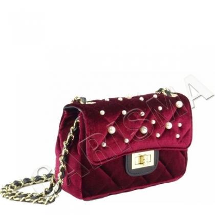 Мини чанта с перли от плюш 0078-2