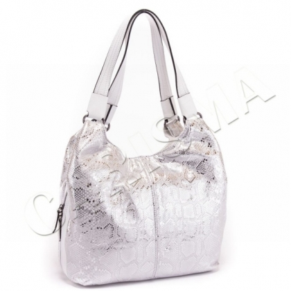 Бяла кожена чанта от мека естествена кожа