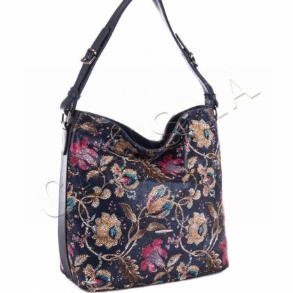 Дамска чанта на цветя, Синя, 0546