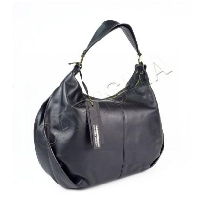 Луксозна дамска чанта от естествена кожа, Черна, 0135