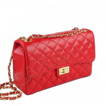 Дамска чанта от естествена кожа, капитониран дизайн 1029CH