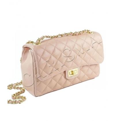 Среден размер дамска чанта от естествена кожа в цвят пудра