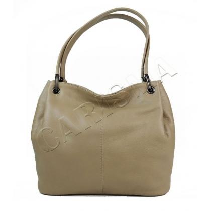Дамска чанта от естествена кожа в цвят каки 166E-3