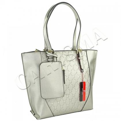 Двулицева дамска чанта Pierre Cardin Сребъриста