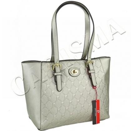 Дамска чанта от еко кожа Pierre Cardin в сребрист цвят