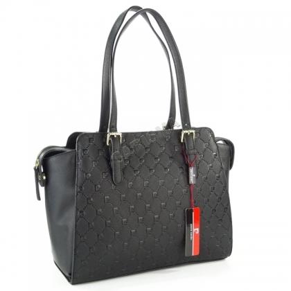 Дамска чанта Pierre Cardin на букви в черен цвят
