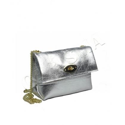 Малка чанта в естествена сребриста кожа