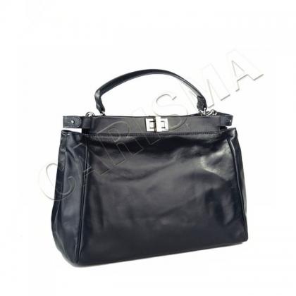 Тъмносиня дамска чанта от естествена кожа I1103-1