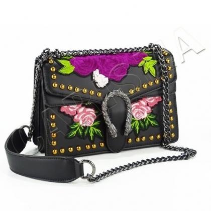 Дамска чанта от естествена кожа с бродерия, G2384