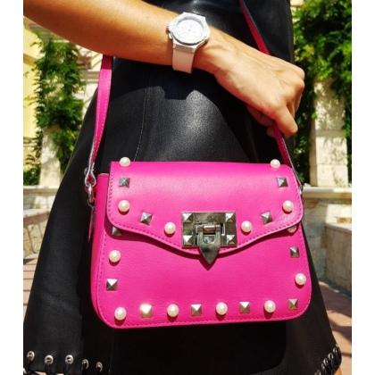 Малка чанта с дълга дръжка Фушия