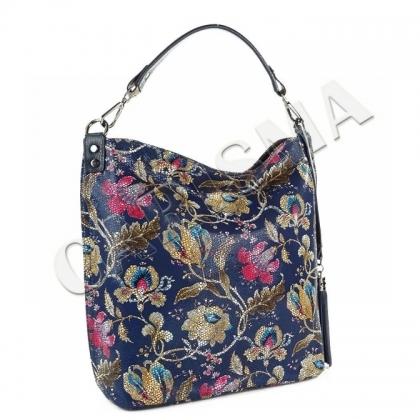 Чанта от естествена кожа на цветя