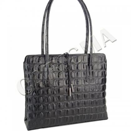 Черна чанта с Кроко щампа