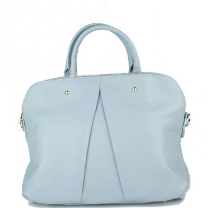 Дамска чанта от естествена кожа светло син цвят