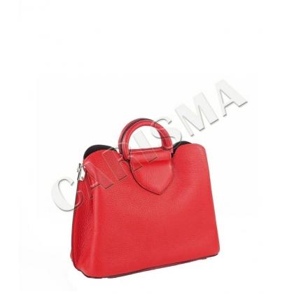 Малка кожена чанта в червено