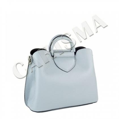 Светлосиня малка кожена чанта 1582-4