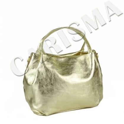Златна чанта от естествена кожа