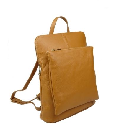 Чанта раница с джоб, светло кафява 1148