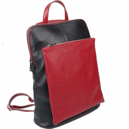 Чанта раница с джоб, черно и червено, 1149