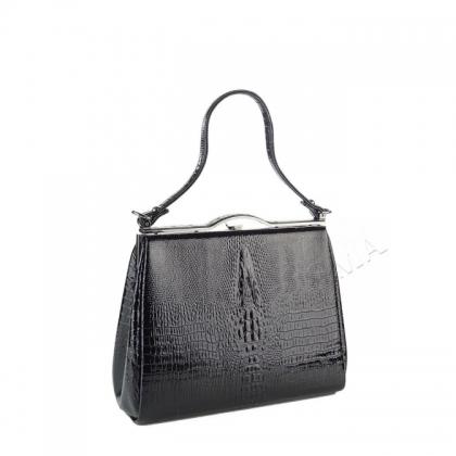 Лачена дамска чанта с кроко щампа 3780