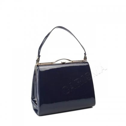 Лачена дамска чанта в тъмно син цвят 3780-1