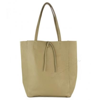 Мека чанта тип торба от естествена кожа Бежова1666-5