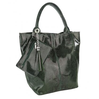 Тъмнозелена чанта тип торба, Змийска щампа 4576IT-2