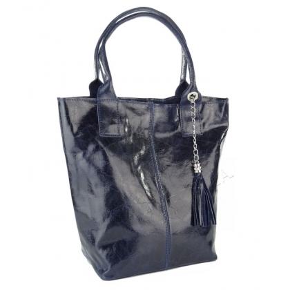 Лъскава чанта тип торба, Тъмносиня 4576IT-4