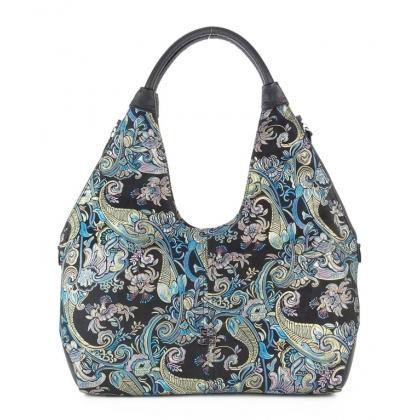 Черна кожена чанта с красиви орнаменти