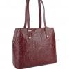 Чанта с флорални мотиви в бордо