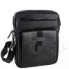 Мъжка кожена чанта с джоб в черно
