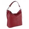Чанта с вертикален цип в червено