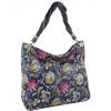 Кожена дамска чанта с флорален принт