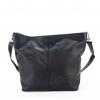 Черна мека кожена чанта