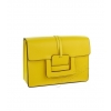 Твърда чанта от естествена кожа в жълто