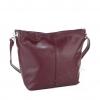 Кожена дамска чанта в цвят бордо