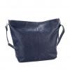 Дамска кожена чанта в тъмно син цвят