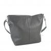 Дамска кожена чанта в тъмно сив цвят